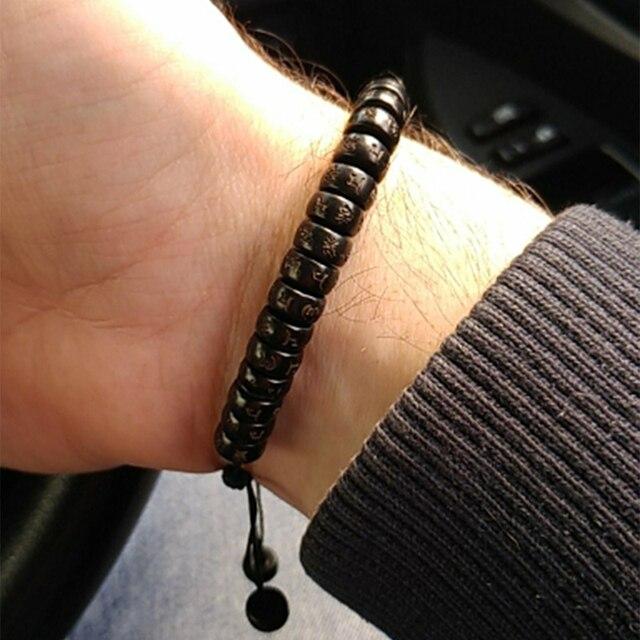 Noter Minimalist Male Wood Bracelet Yoga Meditation Prayer Jewelry Accessories Men Punk Braslet Buddha Runes Braided Braclet