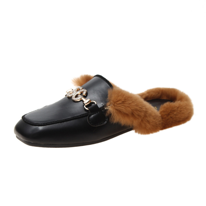 Shoes Woman 2019 Slippers Fur Cover Toe Candy Colors Glitter Slides Fashion Mules Women Low Plush Jelly Square Flat Luxury 38