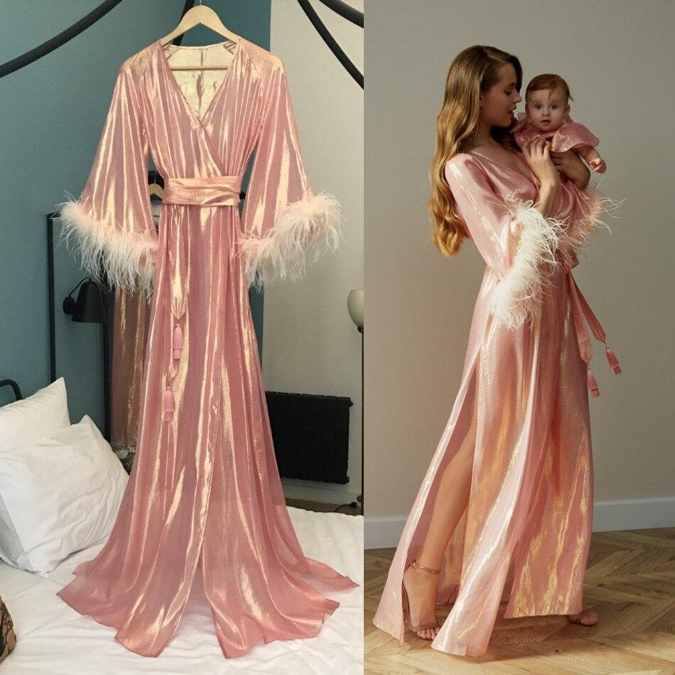 Sexy Pink Night Robe Bathrobe Side Split Silk Pajama For Women Wedding Bride Dress Feather Robes Dressing Gown Pyjamas Sleepwear