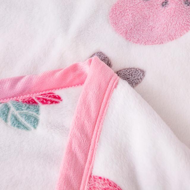 Floral Printed Fleece Pink Blanket
