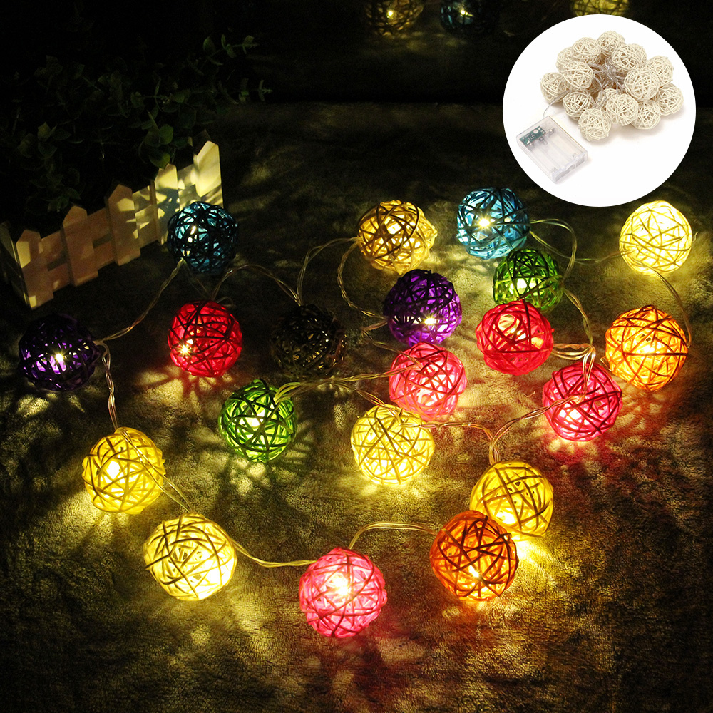 5M Rattan Ball LED String Light Fairy Lights Battery Powered Garland  Led Lights Decoration Party Holiday Wedding Christmas Gift