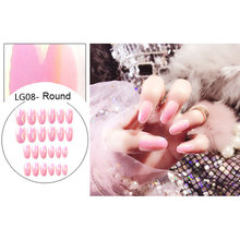 24Pcs/Set Short False Nails Mirror Chrome Full Cover Acrylic Artificial Tips Nail Art Decorations Women Nail Extensions Tool(China)