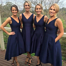 High Low 2019 Cheap Bridesmaid Dresses Under 50 A-line V-nec