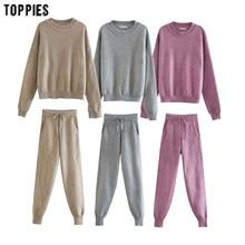 Toppies 2020冬ニットツーピース女性のジャージを設定ハイウエストジョガー鉛筆のズボン女性