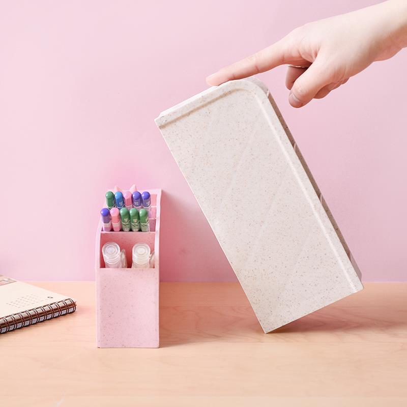 Kawaii многофункциональная косая Вставка 4 сетки Настольный держатель для ручек офисная школьная коробка для хранения прозрачная белая
