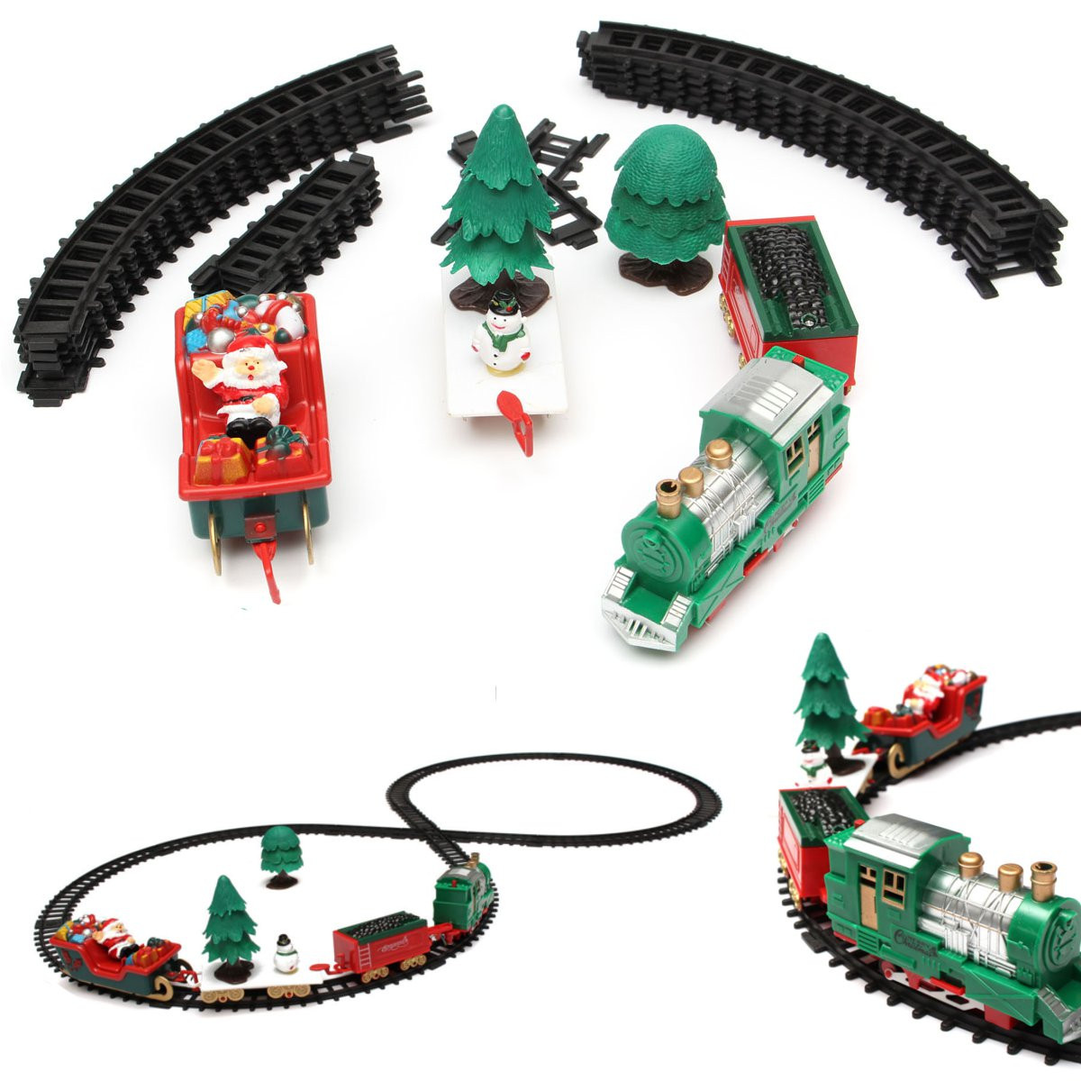 Christmas Train Set Musical Christmas Train Carriages Tree Headlight Tracks Birthday Gift Kids Toy Set Classical Educational Toy
