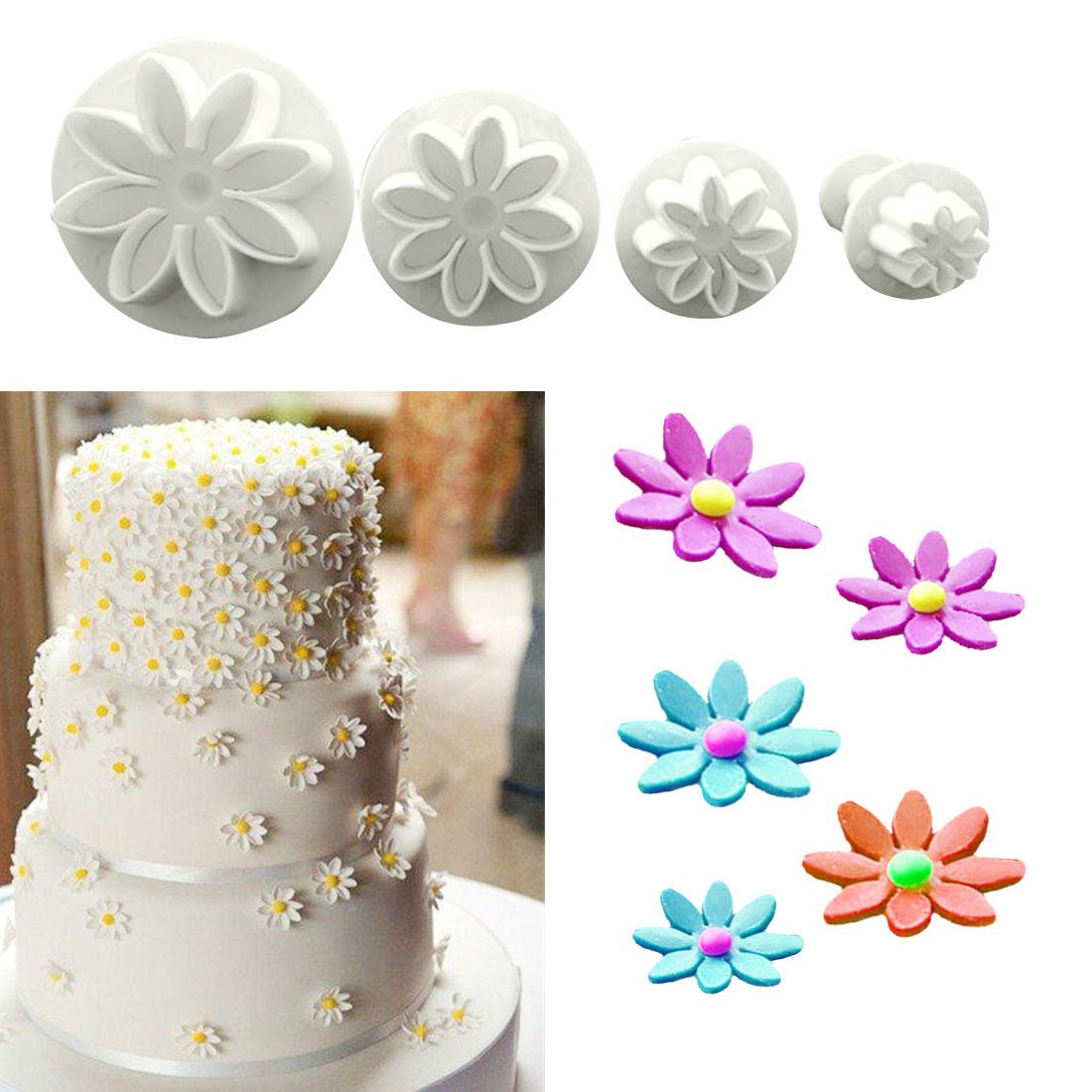 4Pcs/Set Daisy <font><b>Flower</b></font> Cookie Sunflower Plunger <font><b>Cake</b></font> <font><b>decorating</b></font> <font><b>tools</b></font> Cupcake Kitchen fondant Kitchen accessories <font><b>Cake</b></font> mold Stand image