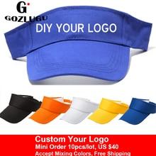 2019 New Visor Caps Women Open Tops Customized Adjustable Hats LOGO Printing Candy Color Adult Baseball Sun 10pcs/lot.