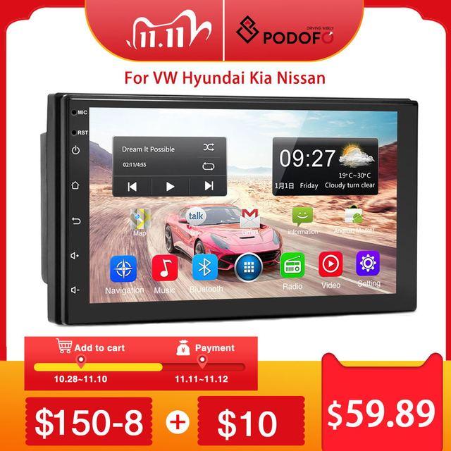 Podofo 2 din Android 9.1 Car Radios GPS Multimedia Player Universal auto Stereo For Volkswagen Nissan Hyundai Kia Toyota Mazda