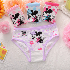 4Pcs/Lot Cotton Soft Panties Girls Lovely Baby Girls Underwear Cartoon Minnie Briefs Breathable Children Panty Kids Underpants