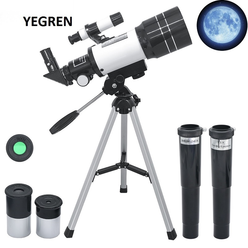 70mm Table Astronomical Telescope 150X Beginners Monocular Moon-watching Telescope with Tripod Child Birthday Gift Telescope