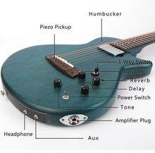 Silencioso viagem acústico guitarra elétrica portátil embutido efeito frete grátis