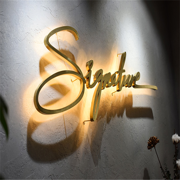 Golden mirror polished brushed stainless steel back lit halo lit sign , outdoor back lighted shop sign LED letters