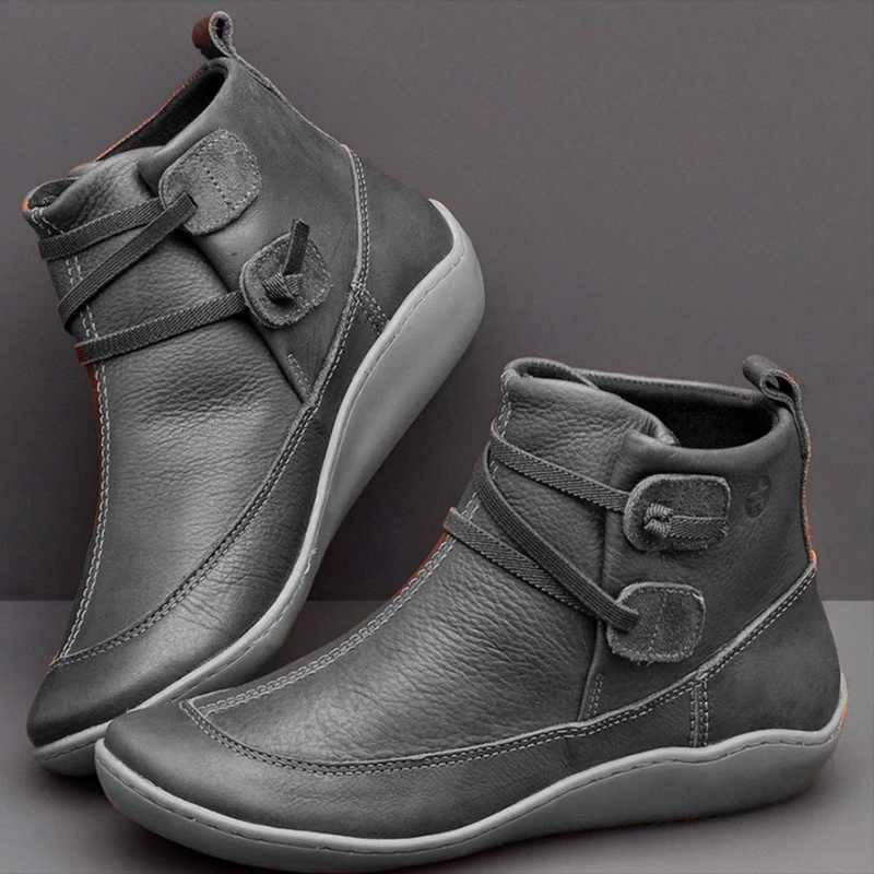 JODIMITTY yarım çizmeler kadın PU deri kış çapraz kayış Vintage peluş Punk sıcak kısa çizmeler düz bayanlar ayakkabı Botas Mujer