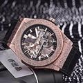 Lujo a estrenar hombres oro rosa marrón negro cuero automático mecánico zafiro relojes de cristal resistente al agua clásico blanco AAA