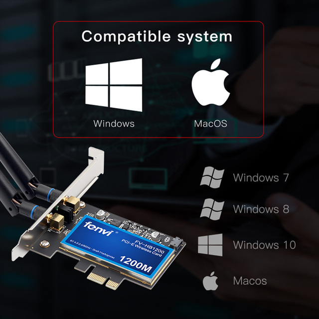 Desktop Dual band 1200Mbps Bluetooth 4.0 PCI-E Wireless Wi-Fi Adapter 802.11ac BCM94360CS2 Wifi Card macOS Hackintosh Windows