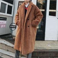 2018 Winter High Quality Thicken Wool Bomber Jacket Coat Men X Long Sections Woolen Warm Coat Men Teddy Coat Casual Men Overcoat