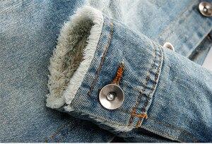 Image 4 - 2019 hot men Jacket warm denim Jacket Fur Collar Retro Jeans Jacket and Coat for autumn winter
