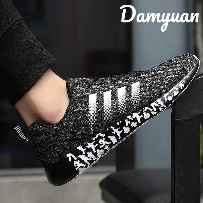 Damyuan 2019 moda Fly dokuma ayakkabı açık nefes örgü Sneaker rahat koşu erkek ayakkabısı artı boyutu 47