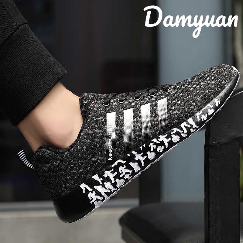 Damyuan 2020 Fashion Fly Woven Shoes Outdoor Breathable Mesh Sneaker Casual Running Men Shoes Plus Size 47
