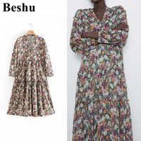 Za 2019 col en v robe florale vintage à manches longues robe en cascade femmes élégant robe ample mujer