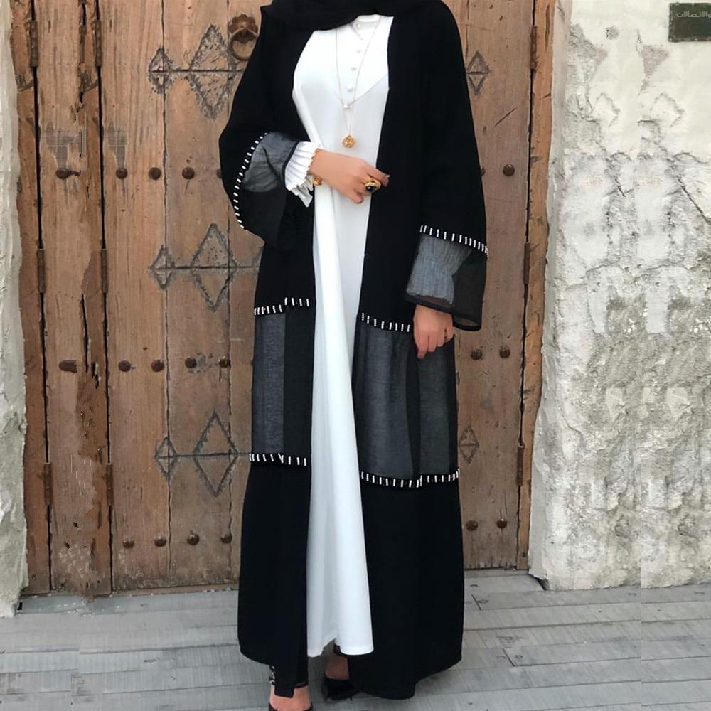 Muslim Women Long Dress Ramadan Islamic Clothing Abaya Dubai Arab Jilbab Kaftan Open Kimono Party Luxury Beaded Lace Patchwork