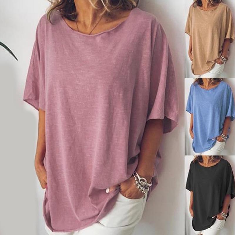Large Size New Harajuku Solid Women T-shirts Casual Tee Tops Summer Short Sleeve Female T Shirt Women Clothing