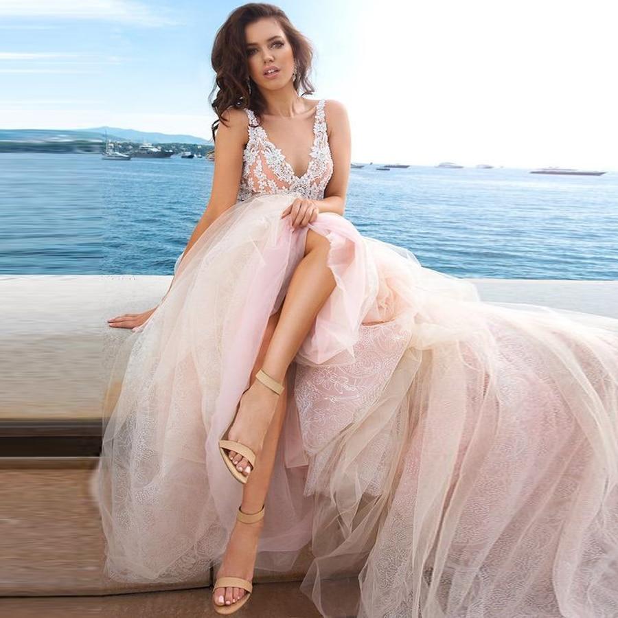 Hochzeit Kleid V-neck Neckline Lace Applique Soft Tulle A-line Wedding Dress With V-back Court Train Bridal Dress Abito Da Sposa