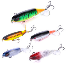 цена 1pcs Quality Whopper Plopper 100mm/ 13.2g Artificial Top Water Fishing Lure Hard Bait Wobbler Rotating Soft Tail Fishing Tackle онлайн в 2017 году