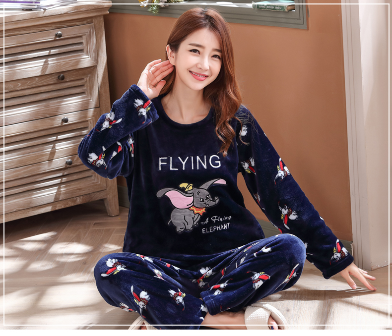Long Sleeve Warm Flannel Pajamas Winter Women Pajama Sets Print Thicken Sleepwear Pyjamas Plus Size 3XL 4XL 5XL 85kg Nightwear 369