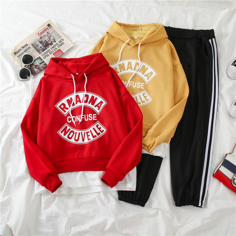 1018 # [Photo Shoot] Sports Casual WOMEN'S Suit Winter Students Brushed And Thick Hooded Two-Piece Set