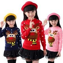 Осенне-зимний хлопковый свитер детский пуловер для девочек вязаные Рождественские свитера Одежда для детей 6, 8, 10, 12, 14 лет
