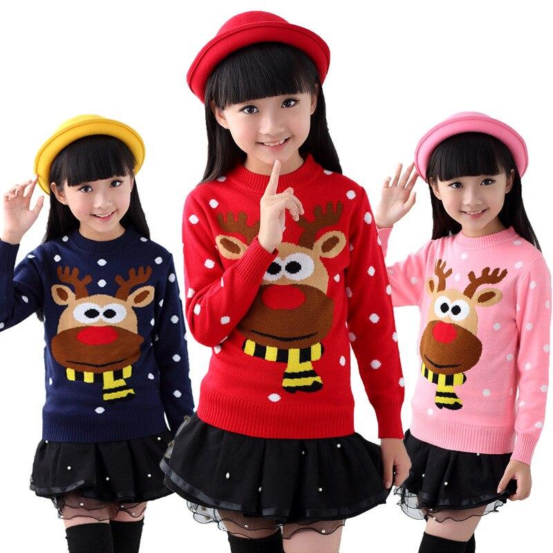 2019 Otoño Invierno algodón suéter Top niñas niños suéter tejido Navidad suéteres desgaste niños ropa 6 8 10 12 14 años