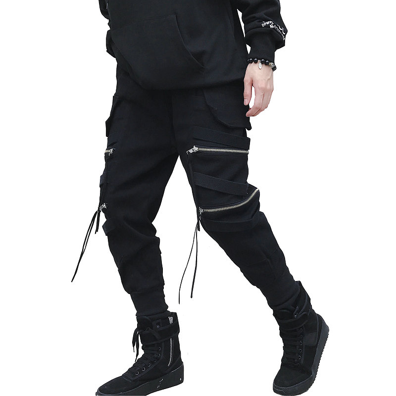 Dropshipping Hop Streetwear Joggers Men Black Zipper Ribbons Harem Pants Cotton Casual Street Style Ankle Length Sweatpants Men