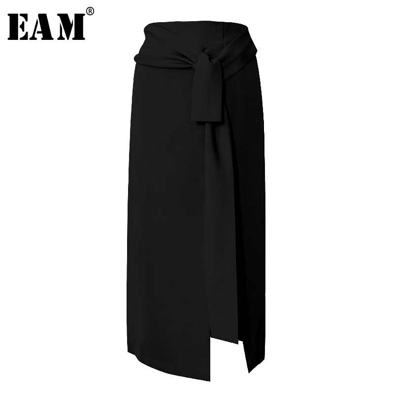 [EAM] High Waist Black Asymmetrical Knot Split Temperament Half-body Skirt Women Fashion Tide New Spring Autumn 2020 1S452