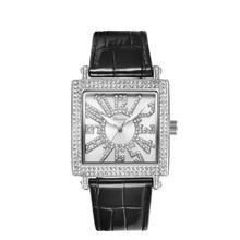 Reloj cuadrado de cuarzo para mujer, reloj de oro y diamante blanco, correa de cuero para mujer, relojes de moda, balanza Digital, resistente al agua, novedad de 2020