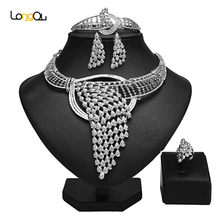 Longqu Dubai sliver plated Jewelry Set Wholesale Nigerian Wedding accessories jewelry set statement woman Costume Jewelry Set(China)