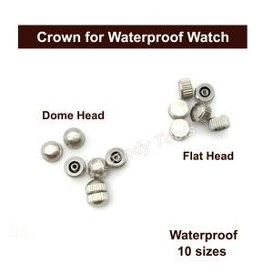 Image 2 - Reemplazo de piezas de corona de reloj a prueba de agua Surtido de cúpula dorada y plateada Accesorios de reloj de cabeza plana Kit de herramientas de reparación para relojero