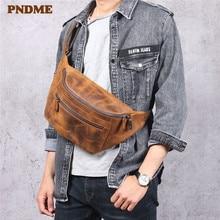 цена на PNDME vintage crazy horse cowhide men chest bag multi-function genuine leather waist pack real leather shoulder messenger bags