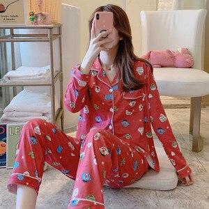 Image 5 - 2020 Women Pajamas Sets with Pants Long Sleeve Turn down Collar Pyjama Print Cute Cartoon Button Top+Pants Pijama Soft Homewear