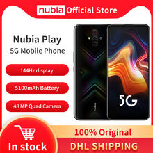 Originele Nubia Spelen 5G Mobiele Telefoon 6.65 ''Amoled 144Hz 8Gb 128Gb Snapdragon 765G Dual band 30W Quick Charger 48MP Quad Camera 'S