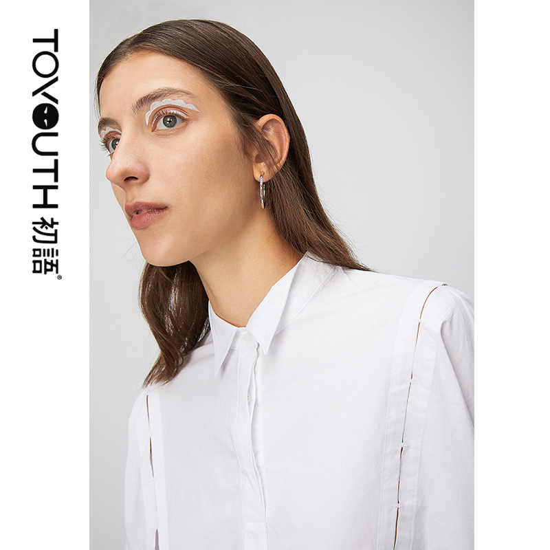 2020 Toyouth Spring New Arrival Women Blouse Shirt Casual Hollow Out Design Loose Black White Shirt Blouse For Female Girl
