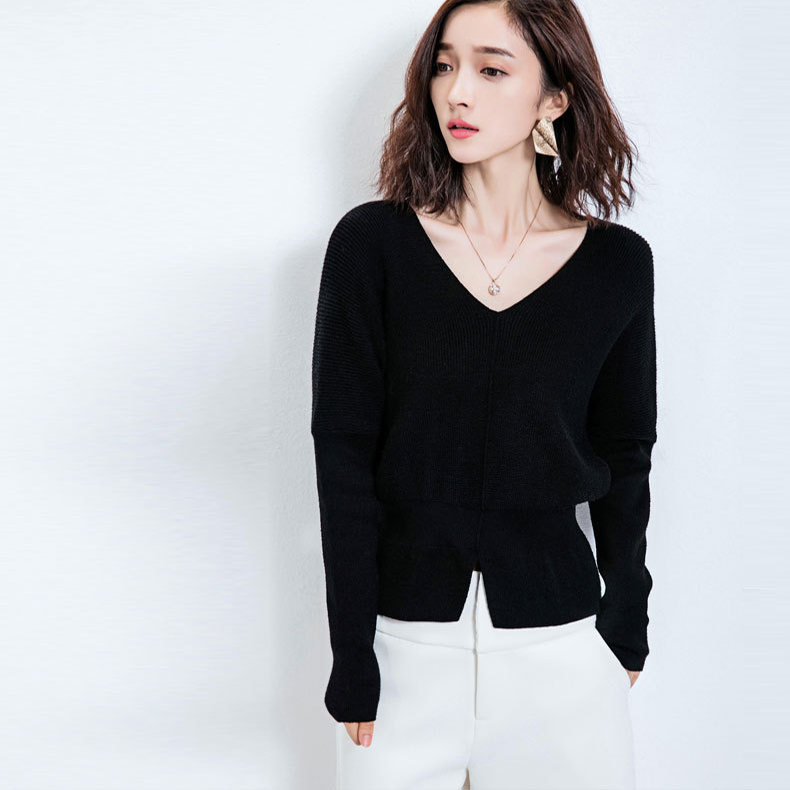 New Winter Women Vneck Knitted Sweater Female Loose Short Pullover Ladies Long Sleeve Elegant Shirt Clothing LX1111
