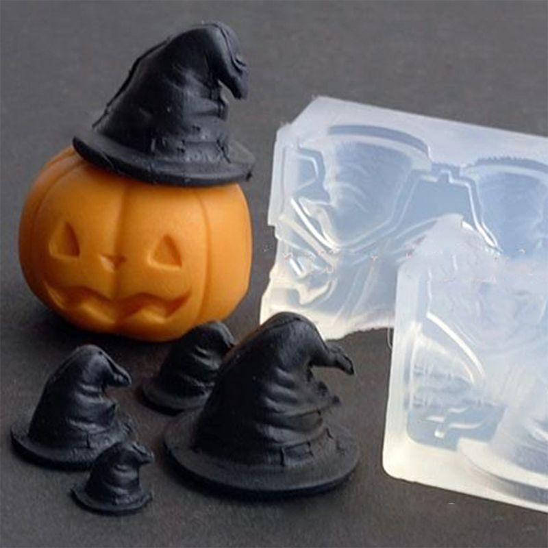 DIY Clear Silicone Stereo Pumpkin Mini Witch Hat Mold For Jewelry Making Tools Resin Craft Epoxy Molds