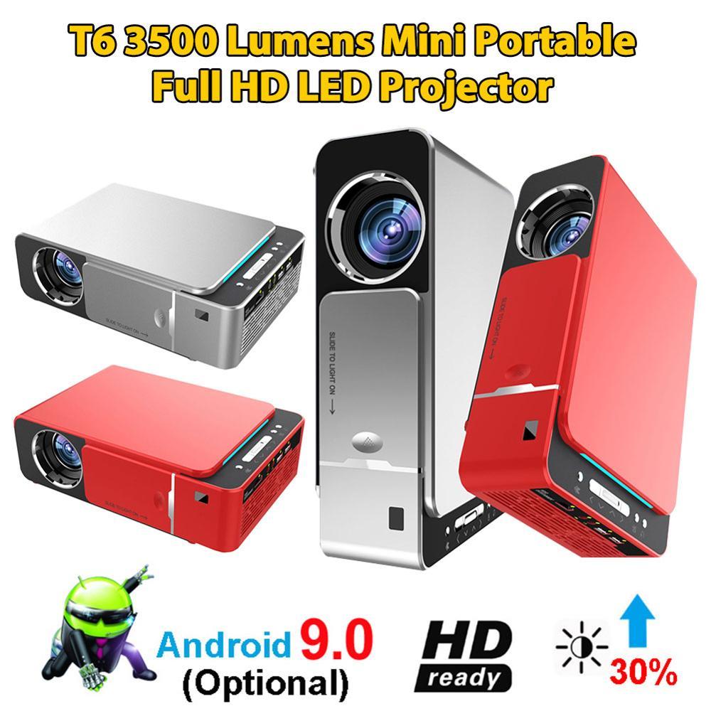 Nouveau T6 vidéoprojecteur full hd LED 4k 3500 Lumens HDMI USB 1080p Portable cinéma projecteur Android 9.0 WIFI même écran vidéo projecteur