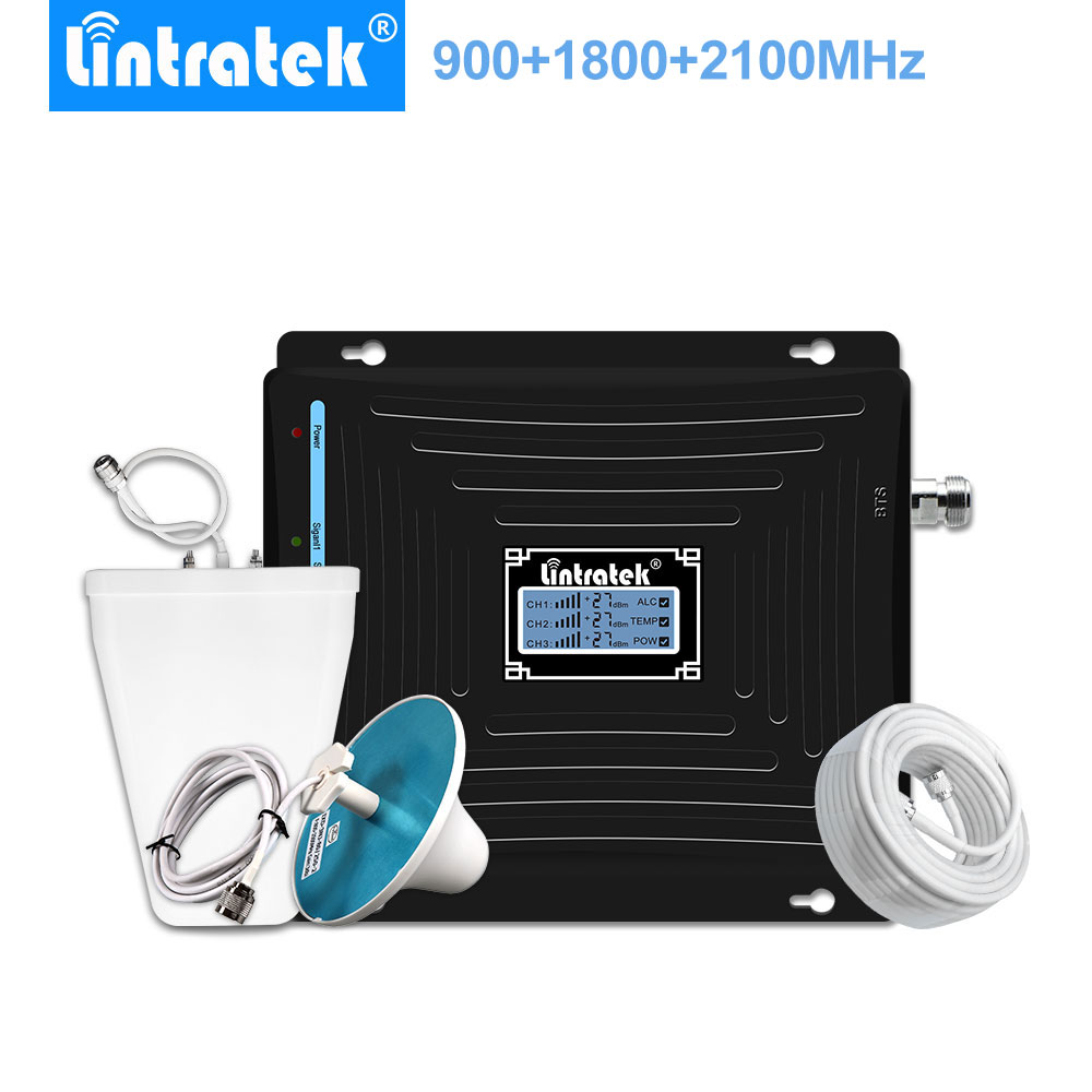 Lintratek GSM Repeater 2g 3g 4g 900mhz 1800mhz 2100mhz Tri Band Cell Phone Signal Booster LCD 3G 4G  LTE Mobile Phone Repeater -