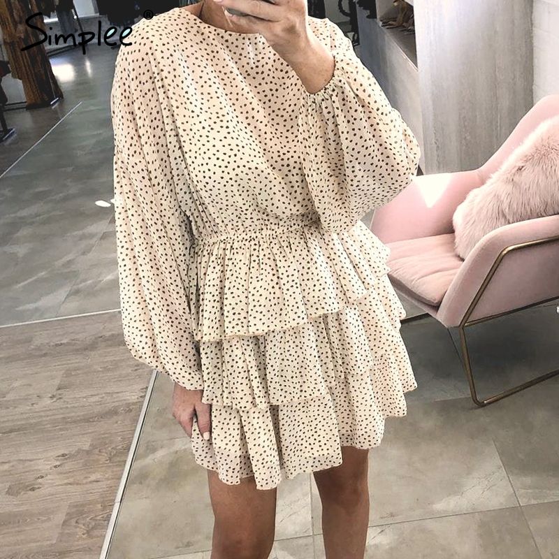 Simplee Dot Print Chiffon Long Sleeve Women Dress A-line Ruffled Elastic High Waist Female Dress Casual Party Club Ladies Dress