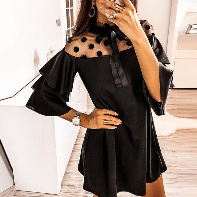 2020 Sexy Mesh Polka Dot See Through Ruffled Turtleneck Butterfly Sleeve Women Dress Sexy Dress Women Party Night 4