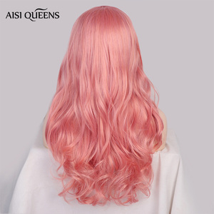 Image 2 - AISI QUEENS Synthetic Pink Wigs Long Wavy Wig for Women Black White Natural Free Parts Cosplay Hair Average Size