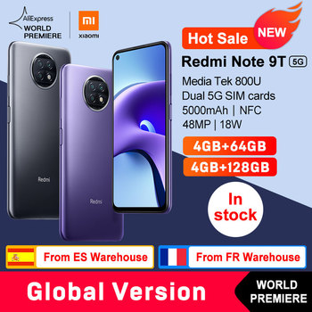 WORLD PREMIERE  Xiaomi Redmi Note 9T 5G 4GB 64GB /128GB Global Version NFC  smartphone Dimensity 800U 5000mAh 48MP Camera